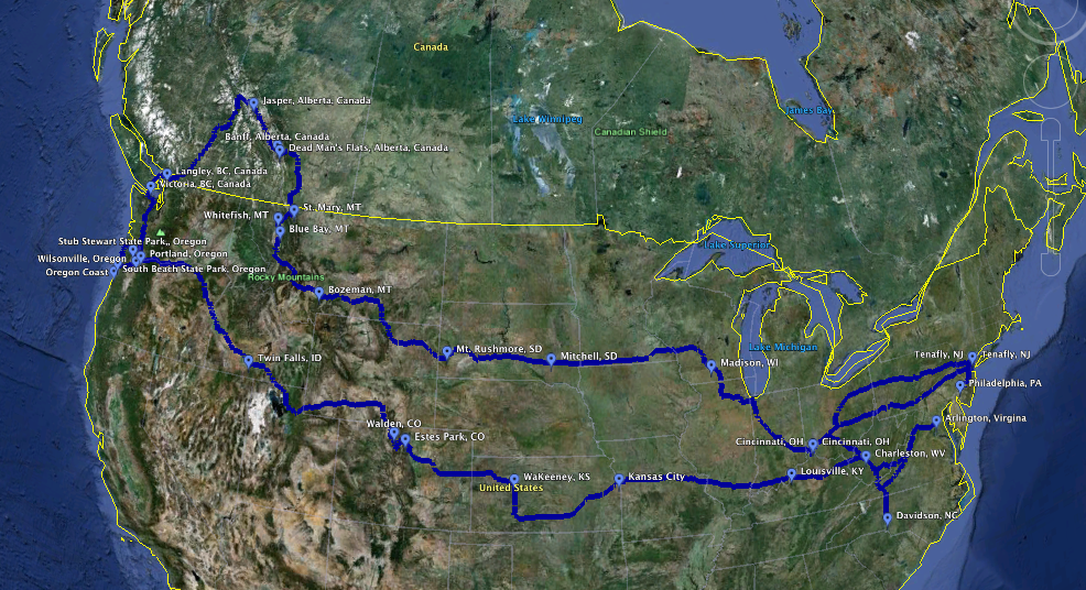 Our Route Green Around The Globe - Continental us road map